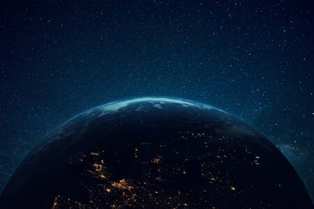 Beautiful blue planet earth with lights in space. Flying over the planet Imagens