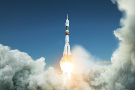 Space rocket takes off into the sky. Spacecraft launched. Successful start