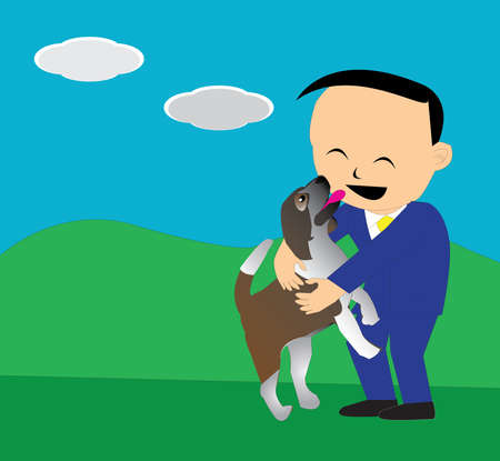 lick: a dog jump to a business man and lick to him