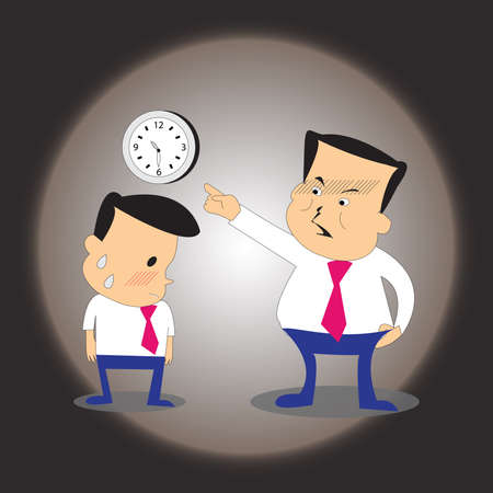 perspiration: boss blame the businessman who come late
