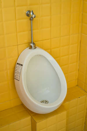 urinal: the urinal in the yellow rest room