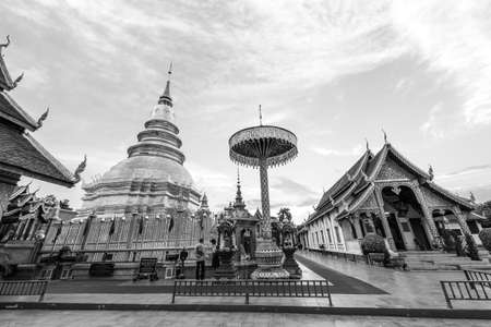 hariphunchai: Wat Phra That Hariphunchai in black and white Editorial