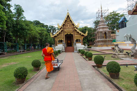 chiangmai: Wat Phra Singh, the famous place for tourist in Chiangmai, Thailand
