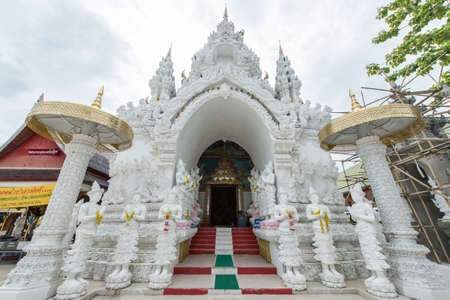 entrance gate: the entrance gate to the temple of  Wat Sanpayang Luang, Lamphun, Thailand