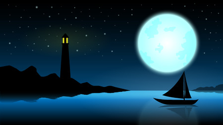 Ship in the night with a full moo, blue ocean and lighthouse Illustration