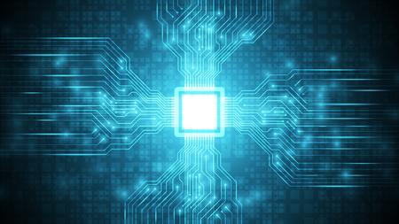circuit futuriste bleu avec fond de technologie cpu, carte mère sur le cyberespace, fond de technologie de traitement de données de transfert