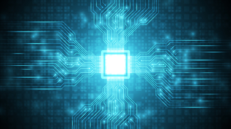 Circuito futurista azul con fondo de tecnología cpu, placa base en el ciberespacio, fondo de tecnología de proceso de transferencia de datos