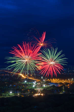 Colorful fireworks display at Chiangmai, Thailand photo