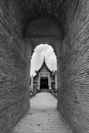 molee: Old wooden church of Wat Lok Molee Chiangmai Thailand.
