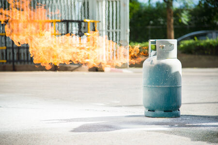 gas fireplace: Fire burning over gas container during training.