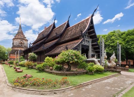 thai temple: Old wooden church of Wat Lok Molee Chiangmai Thailand.