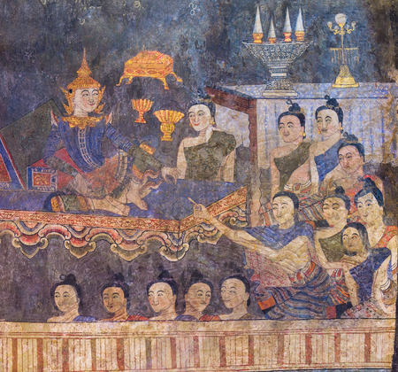 thai buddha: The famous mural painting of a man whispering to the ear of a woman on temple wall of Wat Phumin temple in Nan, Thailand.General in Thailand, any kind of art decorated in Buddhist temple created with money donated by people to hire artist. They are public