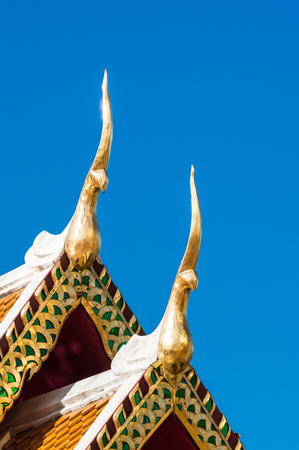 gabled: Gable apex on the roof of royal temple in Chiangmai, thailand Stock Photo