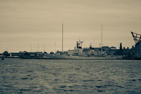COPENHAGEN, DENMARK - OCTOBER 6: Frigate Peder Skram - this warship was commissioned May 25,1966 and decommissioned July 5,1990 in Copenhagen, Denmark. October 6, 2016 - Split Tone image.