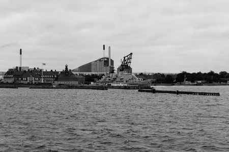 COPENHAGEN, DENMARK - OCTOBER 6: Frigate Peder Skram - this warship was commissioned May 25,1966 and decommissioned July 5,1990 in Copenhagen, Denmark. October 6, 2016 - black and white  image.