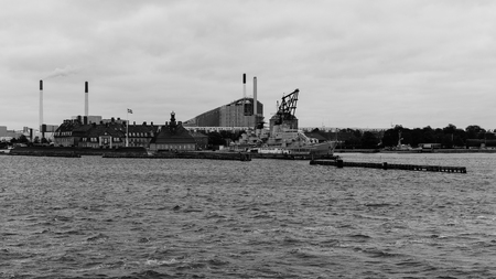 commissioned: COPENHAGEN, DENMARK - OCTOBER 6: Frigate Peder Skram - this warship was commissioned May 25,1966 and decommissioned July 5,1990 in Copenhagen, Denmark. October 6, 2016 - black and white  image.