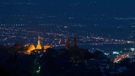 Wat pra thad doi suthep temple in chiangmai thailand, the most famous temple at twilight.
