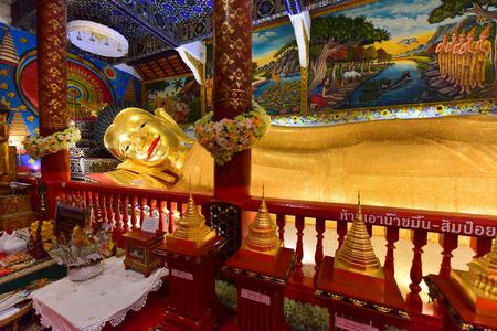 Reclining Buddha statue in Thailand Buddha Temple at Wat Phra Pan(Phra Non Mae Puka), Chiangmai, Thailand