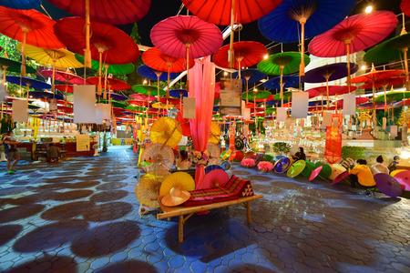 Miracle Lanna Umbrella Festival at Wat Phra Pan(Phra Non Mae Puka), Chiangmai, Thailand
