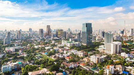 Bangkok Metropolis, aerial view over the biggest city in Thailand