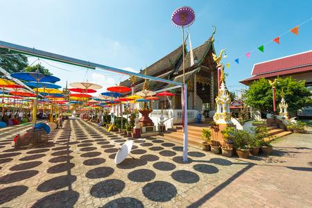 Colorful paper handmade umbrellas at Wat Tha Luk, Chiangmai, Thailand