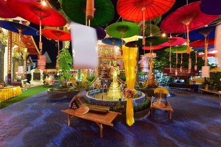 CHIANG MAI THAILAND - OCTOBER 26, 2018 : Miracle Lanna Umbrella Festival at Wat Phra Pan(Phra Non Mae Puka), Chiangmai, Thailand Editoriali
