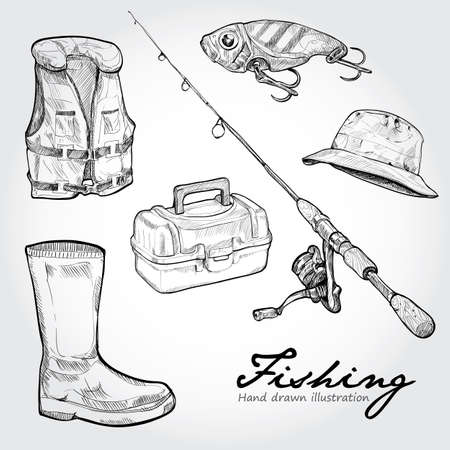 trout fishing: Fishing equipment, icon set. Hand drawn Vector