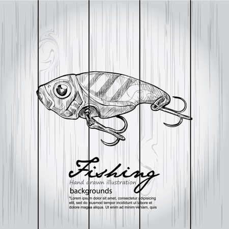 fishing lure: Vintage image of Fishing on wood board. Vector drawing illustration