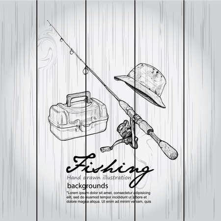 in net: Vintage image of Fishing on wood board. Vector drawing illustration