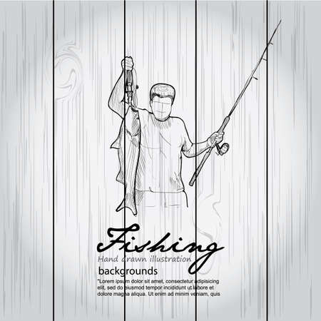 anglers: Vintage image of Fishing on wood board. Vector drawing illustration