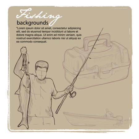 Vintage background of Fishing. Vector drawing illustration Vector