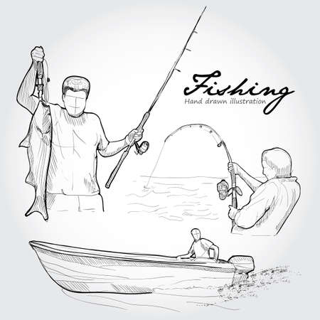 fishing lure: Fishing equipment, icon set. Hand drawn Vector