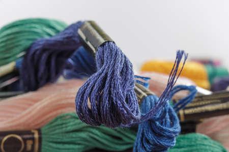 cotton thread: Close-up of stranded cotton thread, dark-blue color