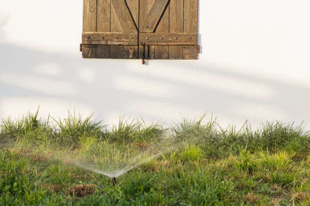 countrified: Rustic wood window on a white wall behind sprinkler of grass at sunset Stock Photo