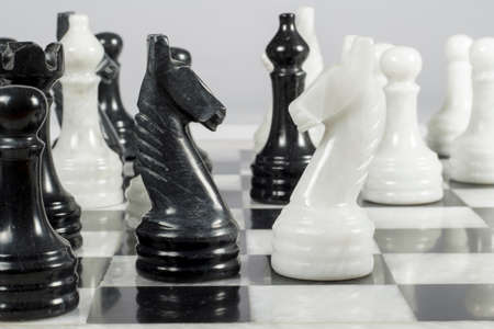 chessmen: Knights face to face in a marble chess board Stock Photo