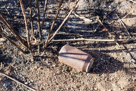 degradation: A soda can after a forest fire. Environmental degradation