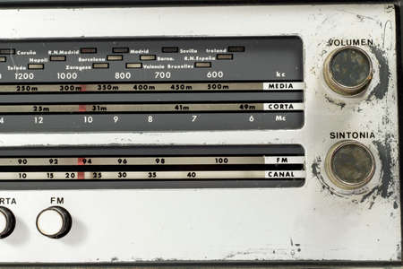 amplitude: Detail of tuner of an ancient radio receiver
