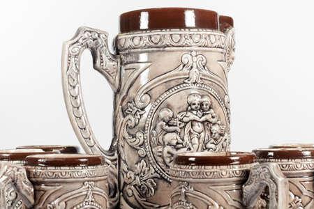 jarra de cerveza: Vista detallada de conjunto de jarras de cerveza