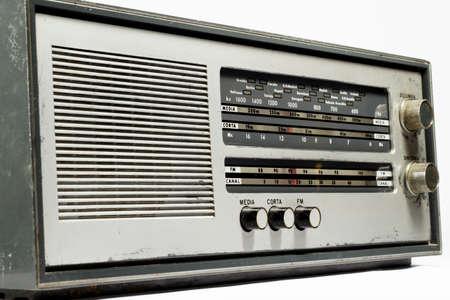 amplitude: Old radio receiver on white