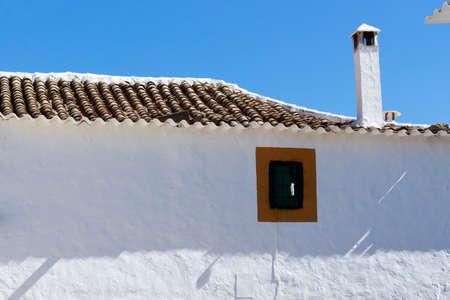 farmhouse: Roof of a white farmhouse Stock Photo