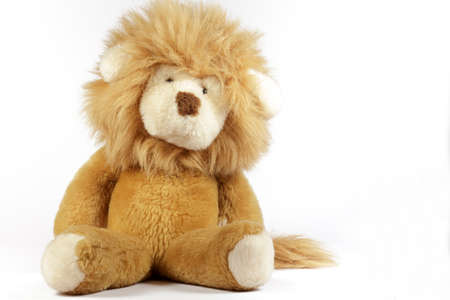 cuddly toy: Stuffed lion on white background