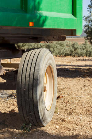 wheel tractor: Detail of wheel of a farm trailer parked in a olive grove