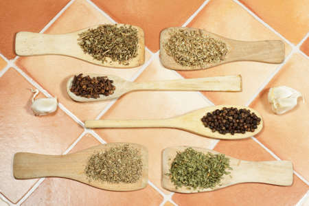 dried herbs: Several dried herbs used in cooking as spices: Oregano, parsley, cumin,thyme, black pepper, cloves and garlic