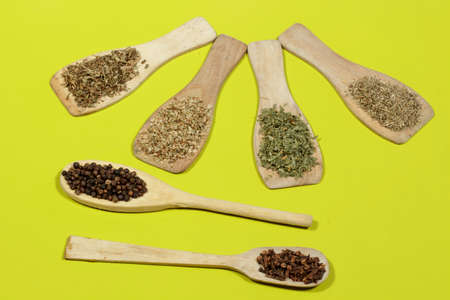 dried herbs: Cloves, black pepper and aromatic dried herbs on green background: Oregano, cumin, parsley and thyme Stock Photo