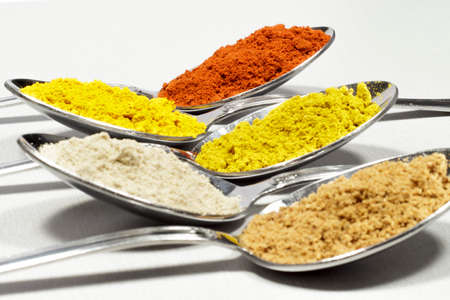 Spoonfuls of several types of spices and food coloring