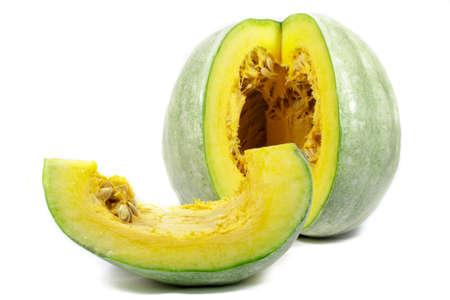 cucurbit: Sliced green pumpkin on white