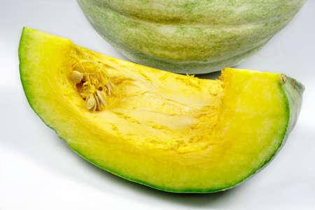 cucurbit: Pumpkin slice isolated on white background Stock Photo