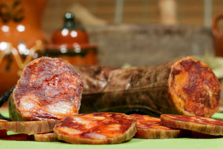 Spanish chorizo slices made of iberian pork. Gourmet product.