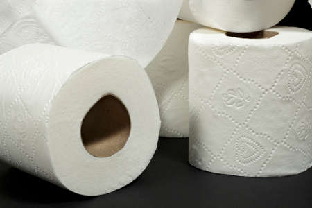 water closet: Detail of embossed decorative patterns of white toilet rolls Stock Photo