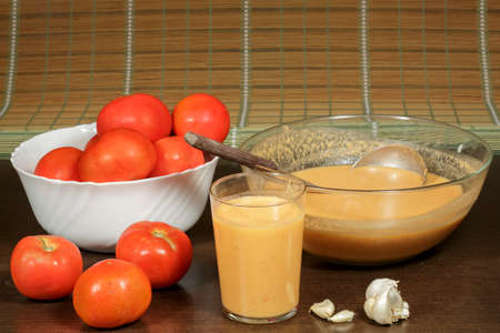 andalusian cuisine: Traditional andalusian gazpacho, cold tomato soup